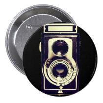 vintage camera, old, retro, cool, antique, photography, funny, vintage, camera, lens, photo, buttons, Button with custom graphic design