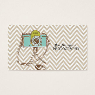 Vintage Camera Chevron Photographer Business Cards