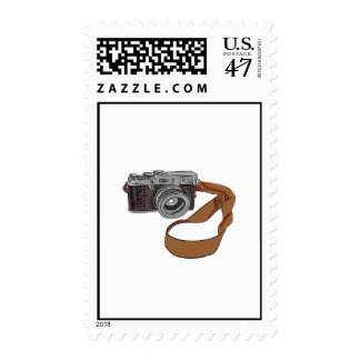 Vintage Camera Drawing Isolated Postage Stamp
