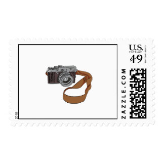 Vintage Camera Drawing Isolated Stamp