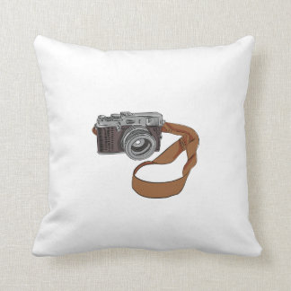 Vintage Camera Drawing Isolated Throw Pillow