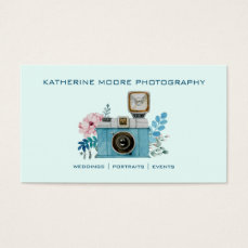 Vintage Camera & Flowers Watercolor Photography Business Card