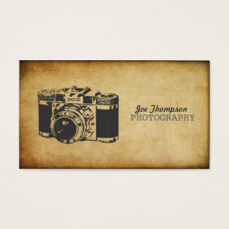Vintage Camera Grunge Photography Business Cards