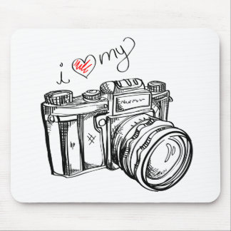 Vintage Camera, Hand Drawn Illustration, Photo Mouse Pad