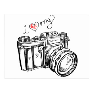 Vintage Camera, Hand Drawn Illustration, Photo Postcard