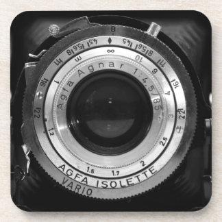 Vintage camera lens beverage coaster