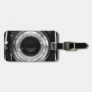 Vintage camera lens luggage tag