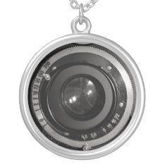 Vintage Camera Lens on Silver Plated Necklace at Zazzle