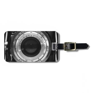 Vintage camera lens tag for bags