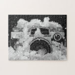 Vintage Camera Melting Snow Storm Black and White Jigsaw Puzzle
