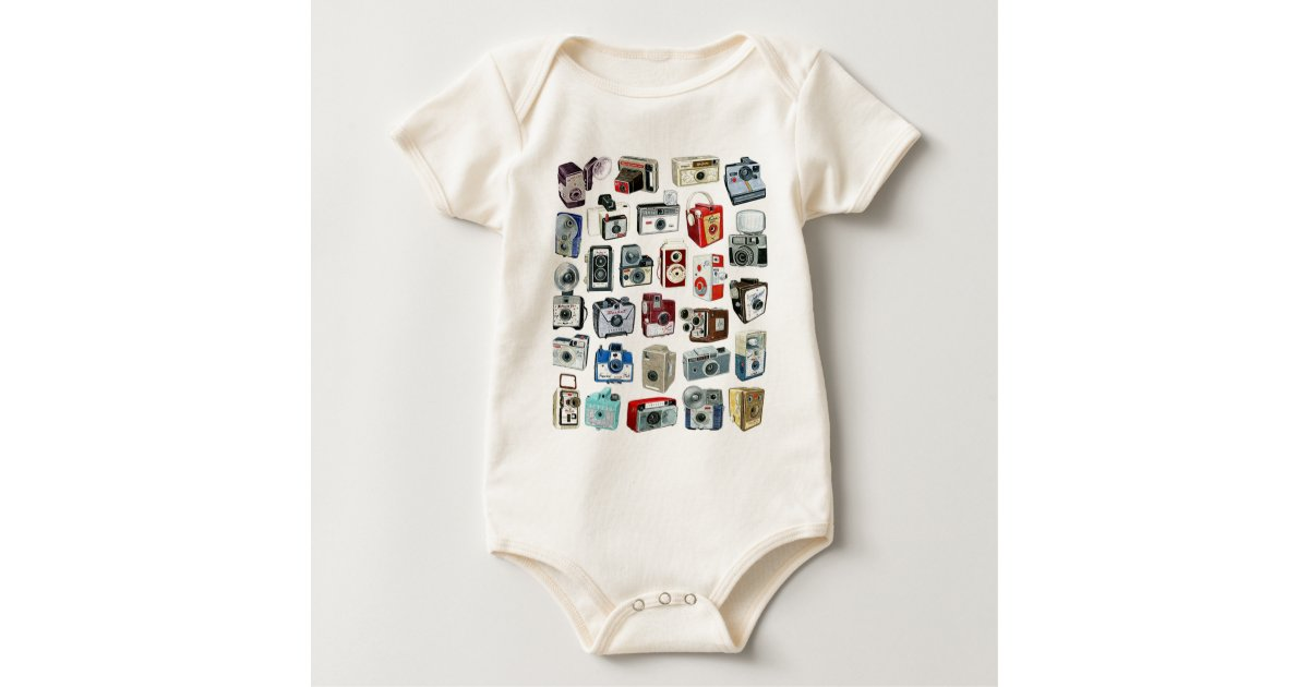 5468abb21 Vintage Camera Montage Baby Bodysuit