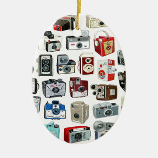 Vintage Camera Montage Double-Sided Oval Ceramic Christmas Ornament