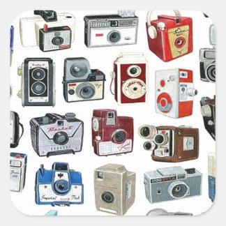 Vintage Camera Montage Square Sticker