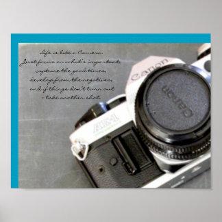 Vintage Camera on Chalkboard Poster
