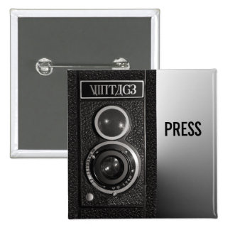 Vintage Camera On Media and Press Badge 2 Inch Square Button
