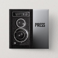Vintage Camera On Media And Press Badge Pinback Button at Zazzle