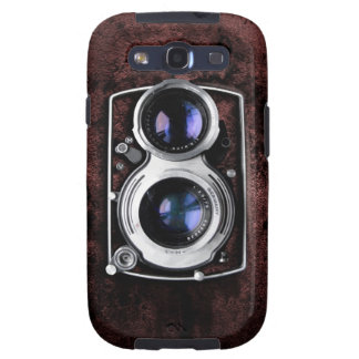 Vintage camera on red leather grunge wall galaxy s3 fundas