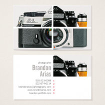 Vintage camera photography simple modern white business card