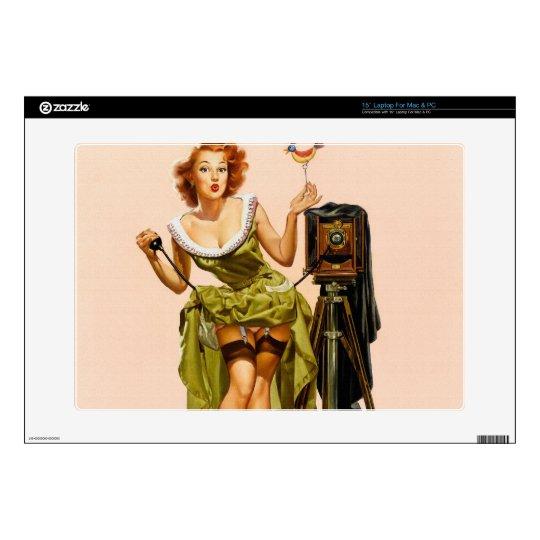 """Vintage Camera Pinup girl 15"""" Laptop Decal"""