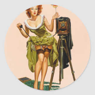 Vintage Camera Pinup girl Classic Round Sticker
