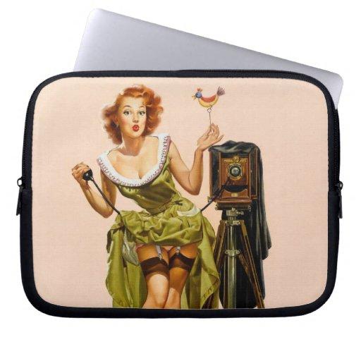 Vintage Camera Pinup girl Computer Sleeve