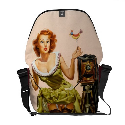Vintage Camera Pinup girl Courier Bags