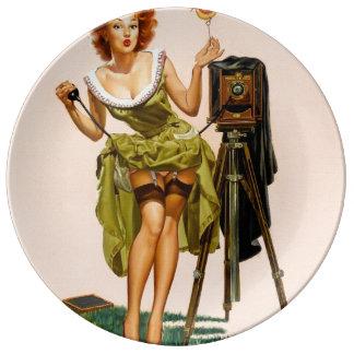 Vintage Camera Pinup girl Dinner Plate