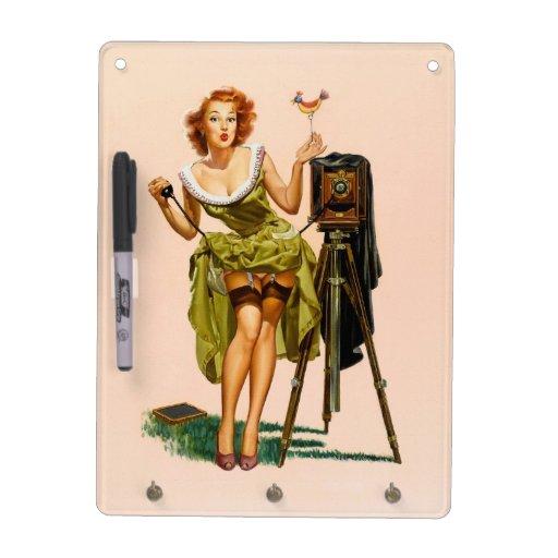 Vintage Camera Pinup girl Dry-Erase Whiteboards