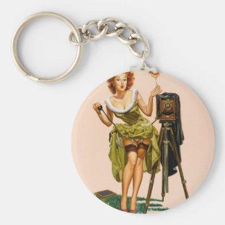 Vintage Camera Pinup girl Keychain
