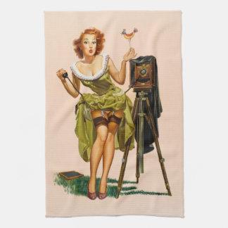 Vintage Camera Pinup girl Kitchen Towel