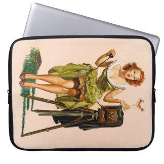 Vintage Camera Pinup girl Laptop Computer Sleeve
