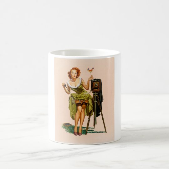Vintage Camera Pinup girl Magic Mug