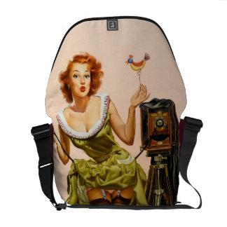 Vintage Camera Pinup girl Messenger Bag