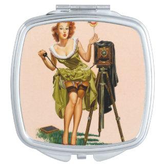 Vintage Camera Pinup girl Mirror For Makeup
