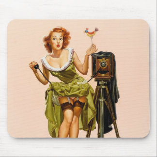 Vintage Camera Pinup girl Mouse Pad