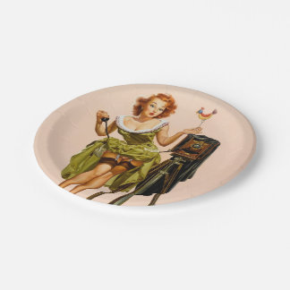 Vintage Camera Pinup girl Paper Plate