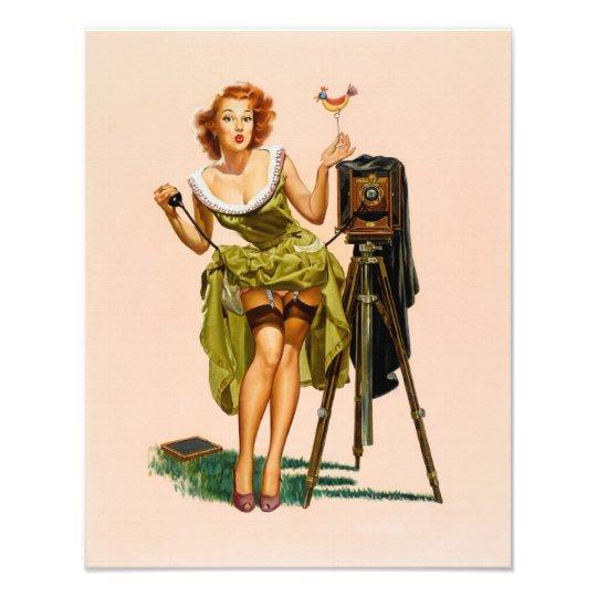 Vintage Camera Pinup girl Photo Print
