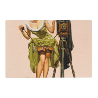 Vintage Camera Pinup girl Placemat