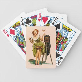 Vintage Camera Pinup girl Bicycle Playing Cards