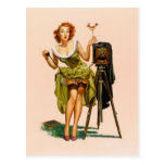 Vintage Camera Pinup girl Postcard
