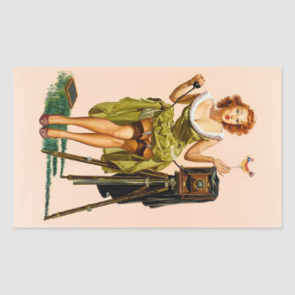 Vintage Camera Pinup girl Rectangular Sticker