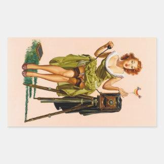 Vintage Camera Pinup girl Rectangular Sticker