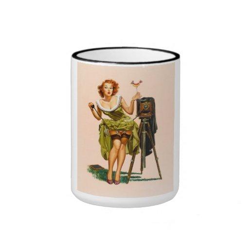 Vintage Camera Pinup girl Ringer Coffee Mug