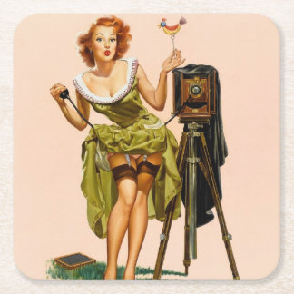 Vintage Camera Pinup girl Square Paper Coaster