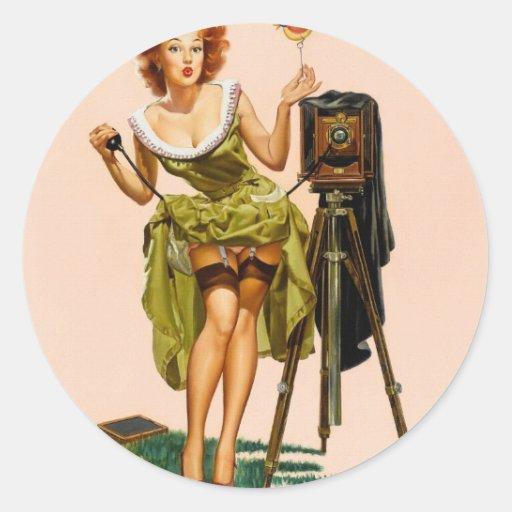 Vintage Camera Pinup girl Round Sticker