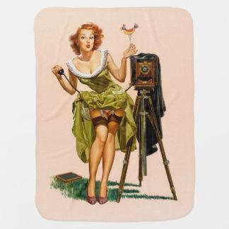 Vintage Camera Pinup girl Stroller Blanket