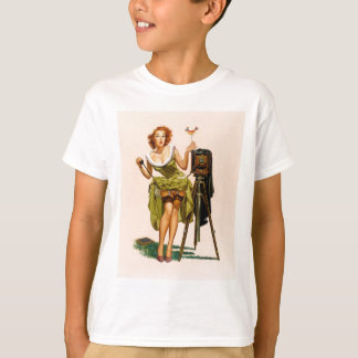 Vintage Camera Pinup girl T-Shirt