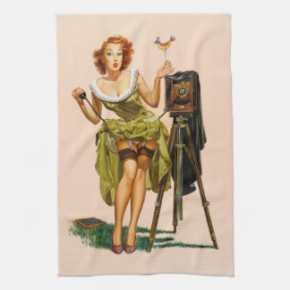 Vintage Camera Pinup girl Towel