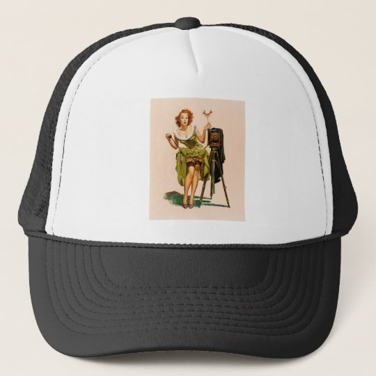 Vintage Camera Pinup girl Trucker Hat