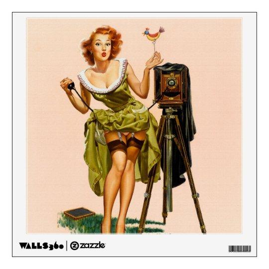 Vintage Camera Pinup girl Wall Sticker